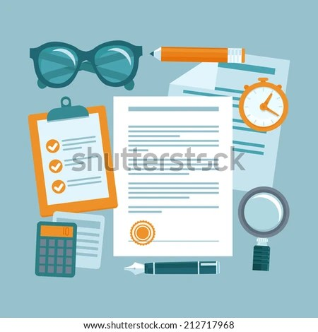 Vector business concept in flat style - paper documents and workplace - contract management