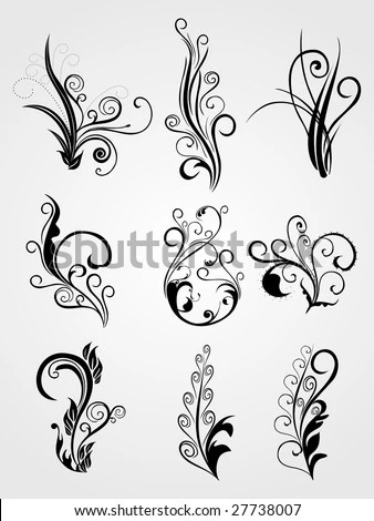 stock vector : background with artistic flower design tattoos
