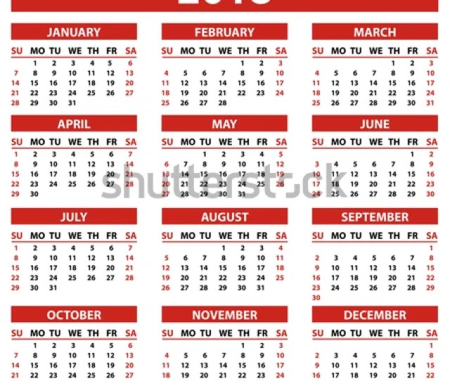 Calendar 2018 Year Simple Style In White Background Week Starts From Sunday Vector Illustration