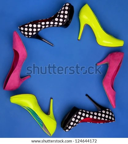 Colorful high heels frame - stock photo