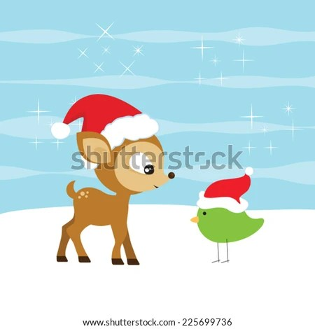 Cute reindeer vector and adorable winter bird