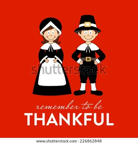 Cute Pilgrim clip art vector