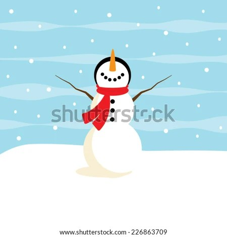 Adorable snowman vector