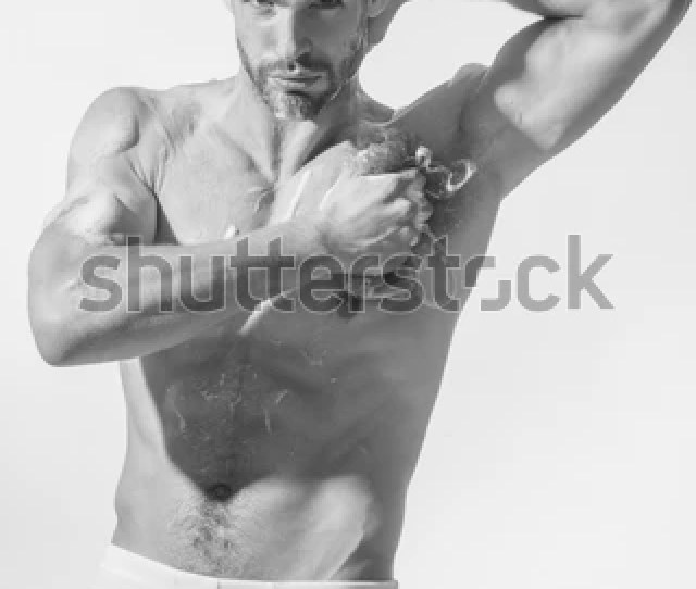 Muscle Soapy Sexy Naked Muscular Bearded Hipster In Boxer Shorts Take Shower Bodybuilder Strong