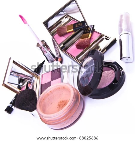 stock photo : makeup collection on white background