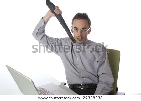 stock photo : Businessman choking himself with his tie