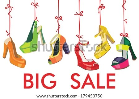 Set of Colorful fashion women's shoes,open shoes,High heel shoes ,gorgeous shoes,open toe shoes hang on a ribbon.Design template for Big sale.Casual and festive.Fashion illustration,vector - stock vector
