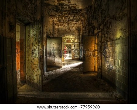 hallway in an abandoned complex, hdr processing - stock photo