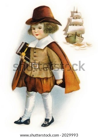 stock photo : First Thanksgiving Pilgrim child holding Bible, with Mayflower ship - a circa 1919 vintage illustration by Ellen Clapsaddle