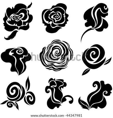 Set of black <b>rose flower</b>