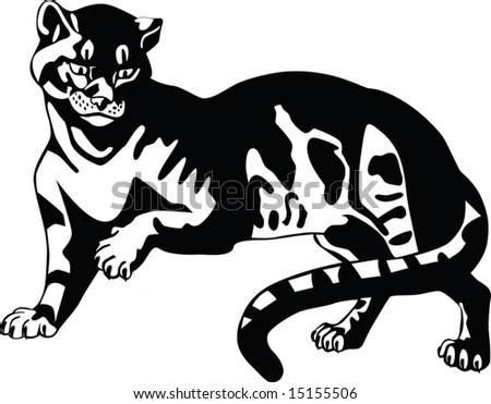 stock vector : Black panther. Big cats. Tattoo.