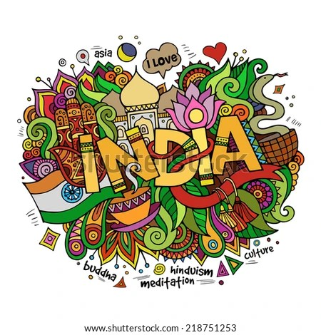India hand lettering and doodles elements background. Vector illustration