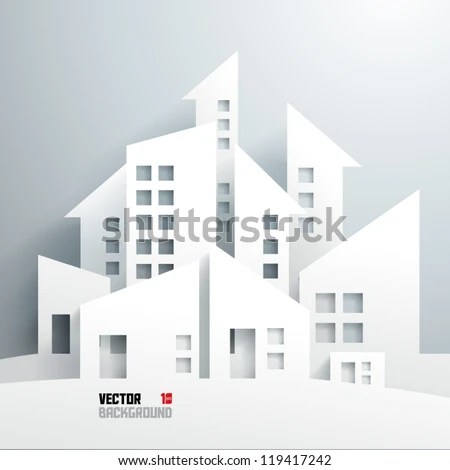 Abstract 3D Paper Buildings - stock vector