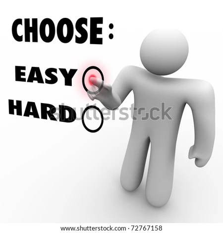 stock photo : A man presses a button beside the word Easy when asked to choose a difficulty level