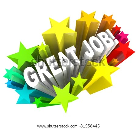stock photo : The words Great Job surrounded by a burst of colorful stars, communicating good praise for a project accomplished and successful goal attained
