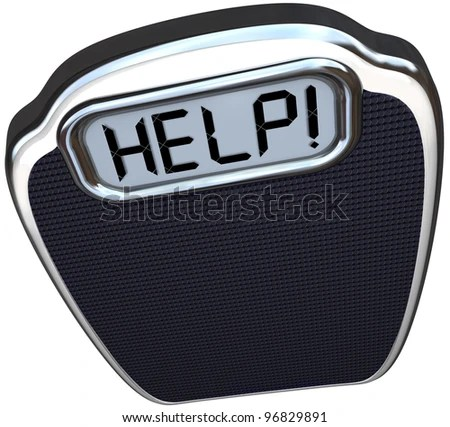 stock photo : A scale with the word Help on its digital display illustrating the need to lose weight through diet and exercise