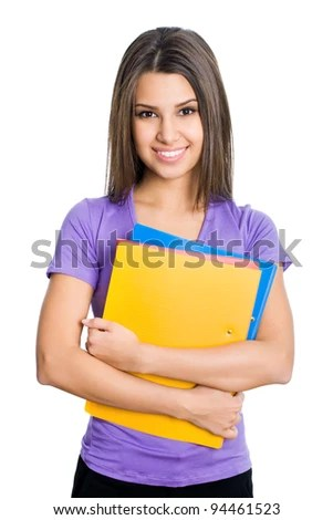 stock photo : Nice female student smiling and looking at camera