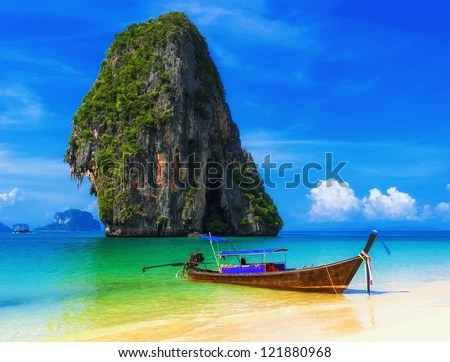 Thailand ocean landscape. Exotic beach view and traditional ship - stock photo