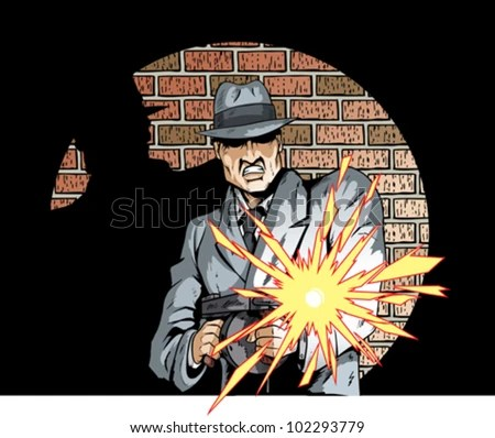 Comic book drawing of a gangster with a tommygun