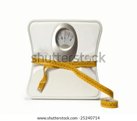 stock photo : Weight scale with a measuring tape. Bathroom Scale with a measuring tape.