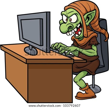 Internet troll using a computer. Vector illustration wit simple gradients. All in a single layer. - stock vector