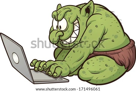 Fat internet troll using a laptop. Vector clip art illustration with simple gradients. All in a single layer. - stock vector