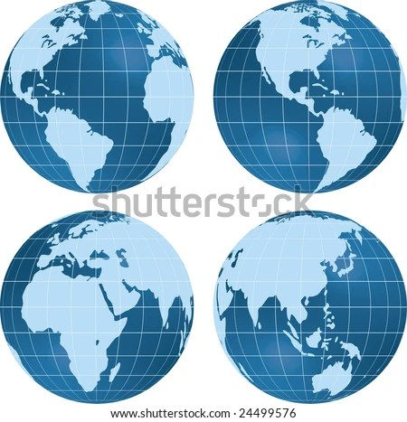 Earth Views With Globes At Different Angles. Stock Vector ...