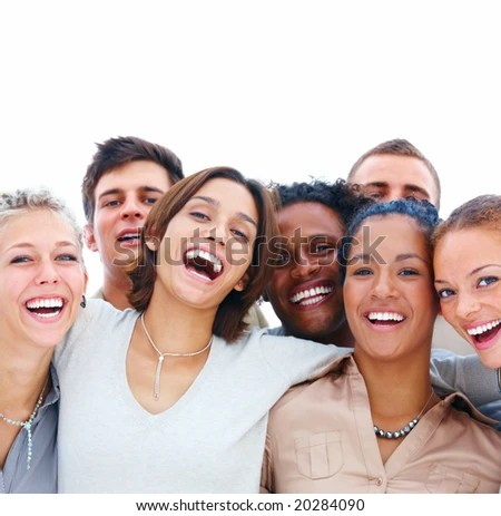 stock photo : Closeup portrait of young men and women laughing isolated on white background