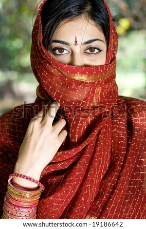 stock photo : an Indian young woman in traditional clothing - Sari