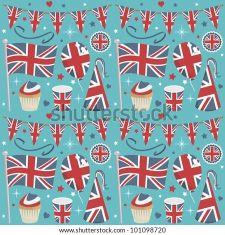 stock vector : seamless united kingdom party pattern wrapping with decorations