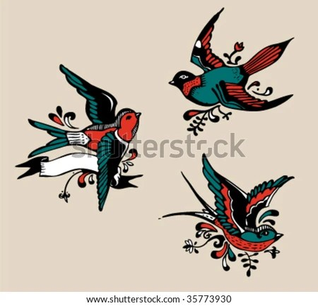 stock vector : Vintage birds - Tattoo