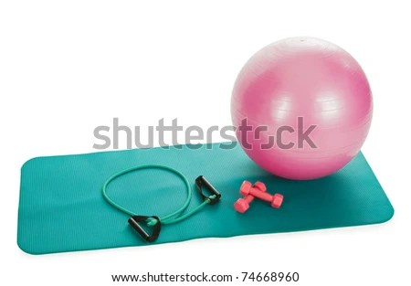 stock photo : collection of fitness equipment over white