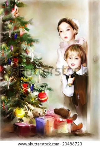 stock photo : children and christmas tree