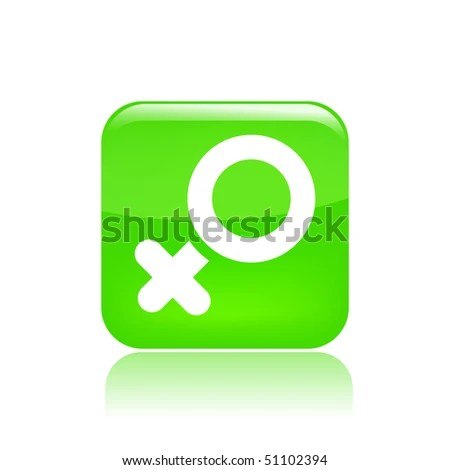 stock vector : Vector illustration of modern glossy green icon depicting a woman symbol