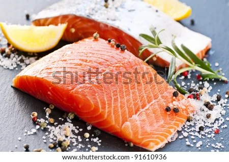 stock photo : Fresh salmon with spices