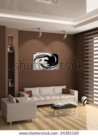 stock photo modern interior of living room d 24381160 Living Room D