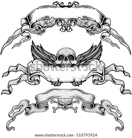 Coffin With Cross Skull Wings And Ribbon Vector Download Free Vector Art Free Vectors