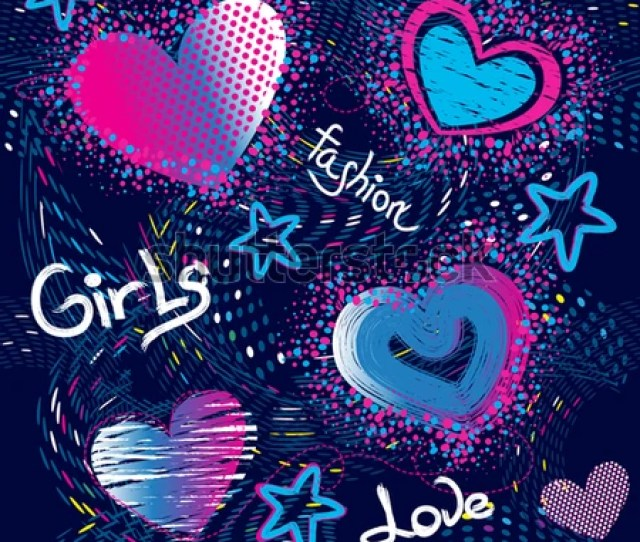 Abstract Seamless Pattern For Girls Creative Vector Background With Hearts Dots Waves