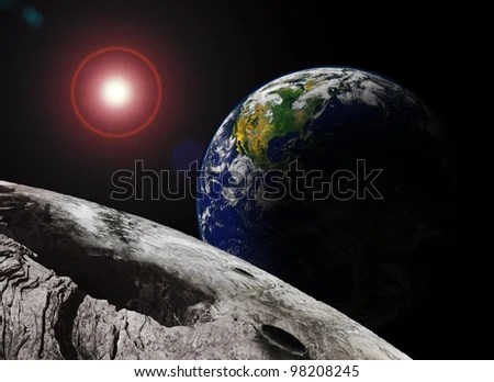 Earth Rising Over The Moon (Original Image Of Earth From A ...