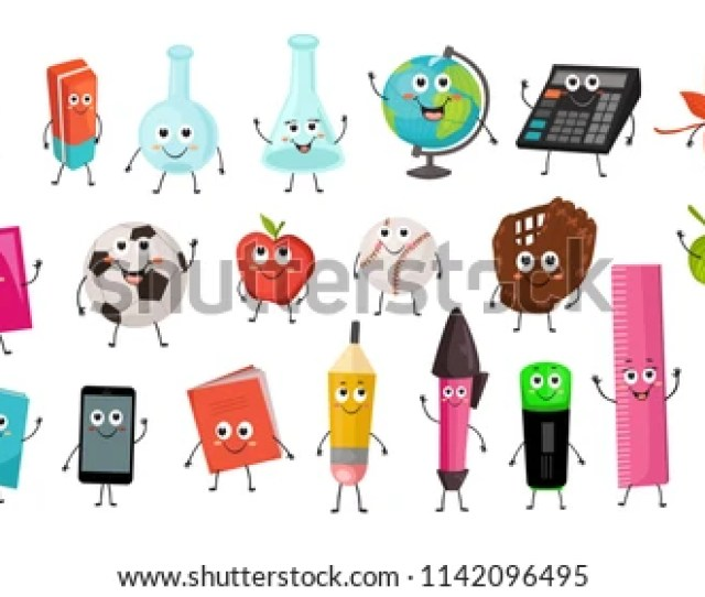 Cute Cartoon School Characters Collection Vector Illustration Of School Objects Isolated On White Background