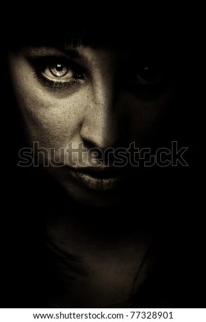 emotion expression dark girl face - stock photo