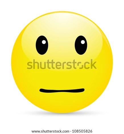 ordinary smiley icon on white - stock vector