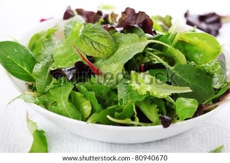 stock photo : mixed fresh salad leaves