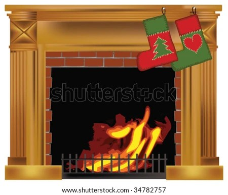 stock vector : Christmas fireplace