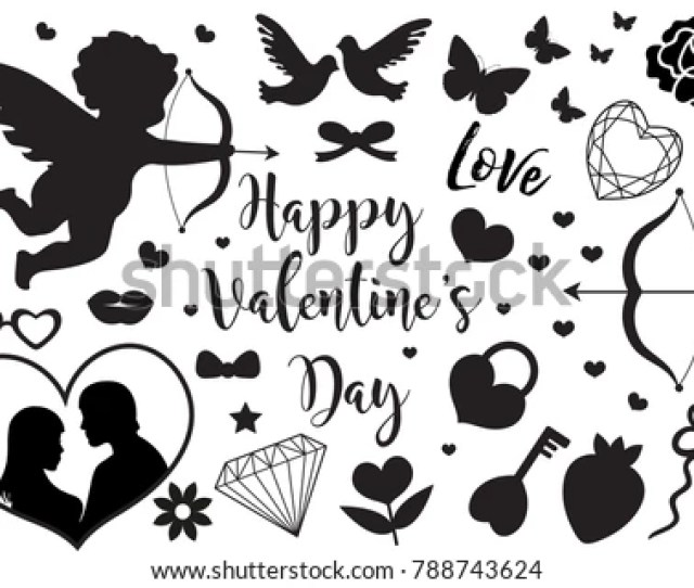 Happy Valentines Day Set Of Icons Stencil Black Silhouette Cute Romance Love Collection Of Design