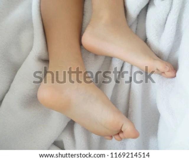 Boy Feet During Sleeping On Bed 1169214514