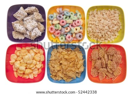 stock photo : Variety of Breakfast Cereal in Vibrant Bowls Isolated on White with a Clipping Path.