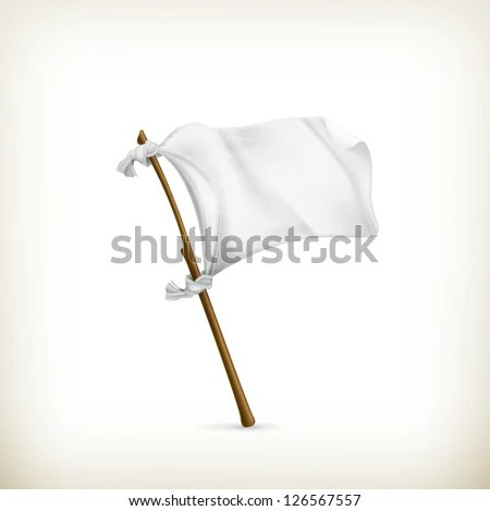 White flag, vector - stock vector