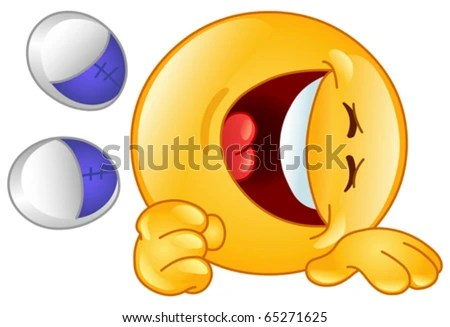 Laughing emoticon - stock vector