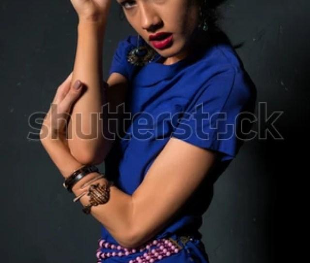Pretty Petite Brunette In A Blue Wrap Dress